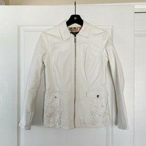 Dennis Basso Womens Jacket Sz XXS White Faux Leath